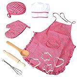 non-brand MagiDeal Kinder Handwerk Kochen Schürze + Küche Backhandschuh + Holzlöffel + Teigroller +Schneebesen Set für Kinder Kochen Werkzeug - Rosa