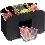 Relaxdays carte Mélangeur 4Electronic Mixer machine aléatoire Jeu de cartes à piles Malaxeur pour Poker, Rami, etc, Trieur de carte, Noir