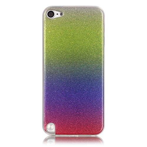 CaseFirst Apple iPod Touch 5 6 Kasten, Gradient Color Sparkling Glitter Case mit Slim Fit Shockproof weichen TPU zurück Fall Deckung für Apple iPod Touch 5 6 (Grün + Lila + Rot) - Lila Ipod-touch-fall 5