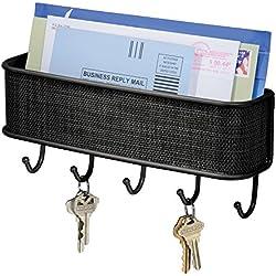 iDesign Ganci portachiavi con ripiano per lettere, Portalettere in metallo e plastica con 5 ganci ideale per sistemare la posta, Portachiavi da parete da ingresso, nero