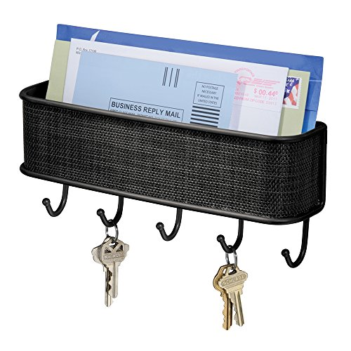 iDesign Schlüsselbrett mit Ablage, kleine Hakenleiste aus Metall und Kunststoff, Briefablage mit 5 Haken für Post, Notizen, Schlüssel, Leinen und mehr, schwarz