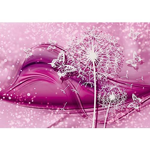 Fototapete 368x254 cm PREMIUM Wand Foto Tapete Wand Bild Papiertapete - Ornamente Tapete Blume Pusteblume Schmetterling Linien pink - no. 2056