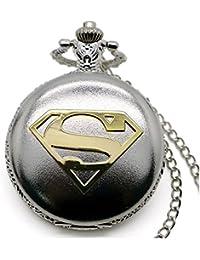Superman Gold Logo poliert Silber Finish antik/Vintage Case Herren Quarz-Taschenuhr Halskette–auf 81,3cm Zoll/80cm Kette