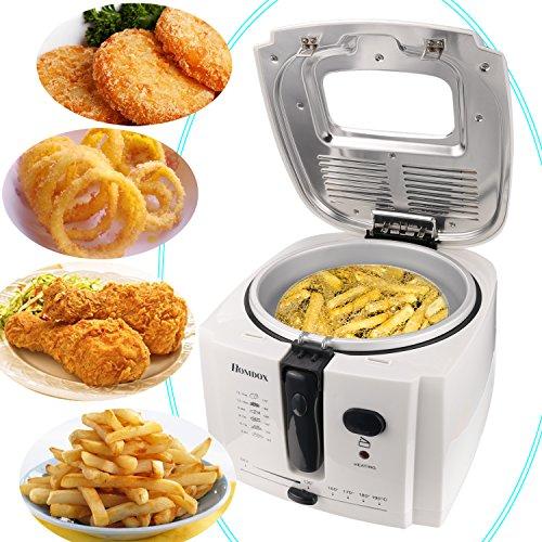 Homdox Fritteuse mit Temperaturregelung bis 190°C, 2 Liter Fettfüllmenge, Deckel mit Sichtfenster und Edelstahlkorb 1500W Weiß Deep Fat Fryer