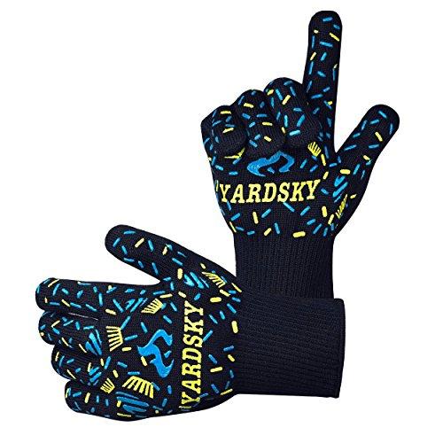 Yardsky Grillhandschuhe – hitzebeständig bis zu 500°C, Finger-Design zum Schutz gegen Schneiden, Silikon Aramidfasern, bequem und...