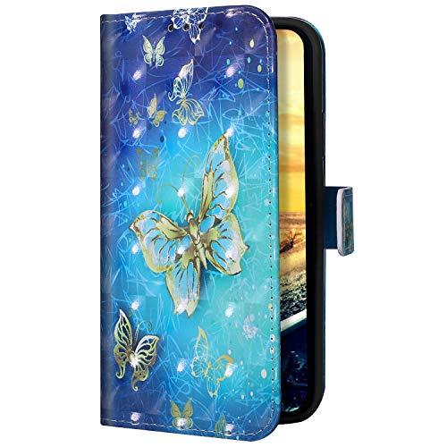Uposao Kompatibel mit iPhone 11 Pro Max Handyhülle Handytasche Glitzer Bling Glänzend Bunt Muster Schutzhülle Flip Case Brieftasche Klapphülle Leder Hülle Cover,Gold Schmetterling
