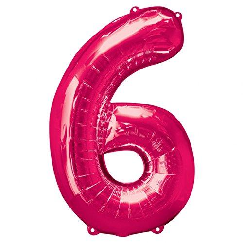 Preisvergleich Produktbild NEU Folienballon Große Zahl 6 pink, 58x88 cm