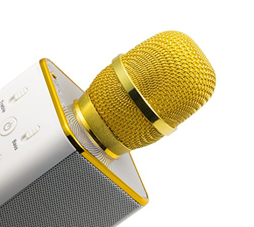 MusicMan 4685 Karaoke Mikrofon BT-X31 (Bluetooth, kompatibel mit Smartphone/Apple iPhone gold/weiß - 10