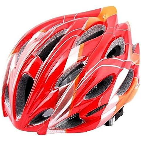 MaMaison007 EPS al aire libre en bicicleta casco de equitación ciclismo con redes insectos y 24 ventilación-rojo