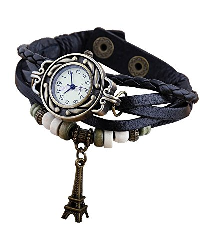 Boolavard® TM Uhr Leder Armbanduhr Armreif Damenuhr Lady Quarz Bracelet Beads Watch Geschenk Gift (Eiffelturm)