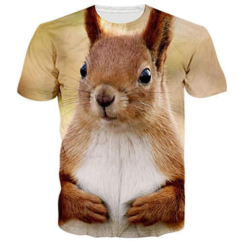 chicolife Jungen stylischen T-Shirts Herrenmode, die besten Tees mit Smart Eichhörnchen gedruckt Sommerkleidung große -