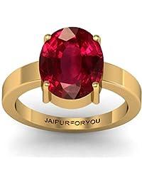 jaipurforyou Certified Ruby (Manik) 8.40cts or 9.25 ratti Panchdhatu ring