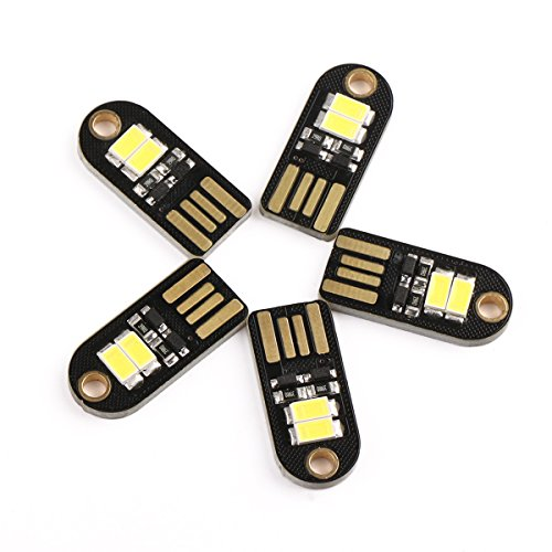 Droking 5pcs piccolo USB LED Nightlight Handy 5V 100mA 6000k Pocket Nightlight con connettore USB luminosa della lampada della luce bianca per natale decorazioni torcia di emergenza