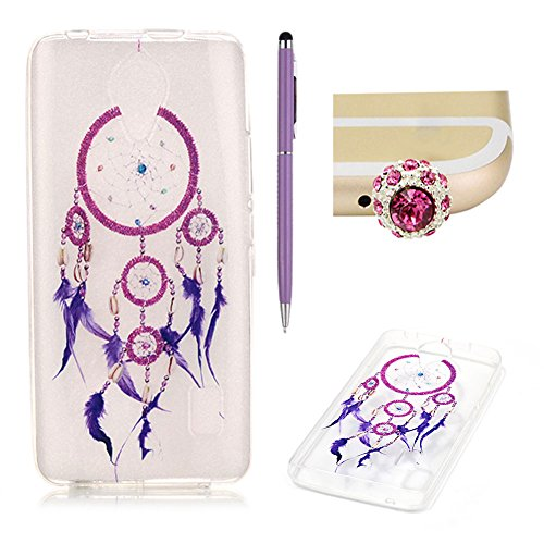 Huawei Y635 Case Clear Silicone,SKYXD Huawei Y635 Case Transparent With Pattern Purple Feather Dream Catcher Design Soft Gel Rubber Skin Premium Flexible Slim Thin Back Cover Crystal Clear Protective Case For Huawei Y635 +1x Cute Crown Dust Plug +1x Stylus Touch Pen Test