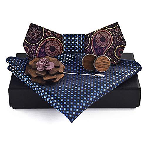 QINJLI Herren Massivholz Fliege Oberflächendruck Brosche Quadrat Handtuch Button Set Party Hochzeit Shirt Zubehör Casual Gentleman (Color : D) - Manschettenknöpfe-button-shirt