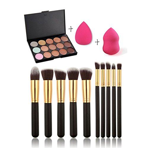 Gracelaza 10 Pcs Pinceaux Maquillage Trousse, 2 Éponge Fondation Puff + 15 Couleurs Palette de Maquillage Correcteur Camouflage Crème Cosmétique Set