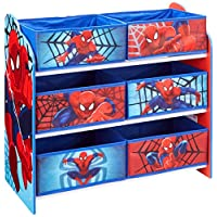 Hello Home Spider-Man Kids Bedroom Toy Storage Unit with 6 Bins, Wood, Multicolour, 30x63.5x60 cm