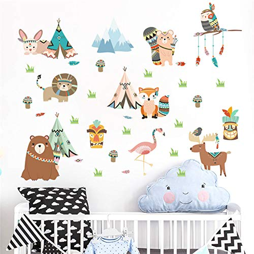 Dschungel Wilde lustige Tiere Wandaufkleber Für Kinderzimmer Wohnkultur Cartoon Eule Löwe Bär Fuchs Wandtattoos Pvc Wandbild Kunst -