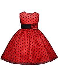 aade54901 GIO112 Vestido Rojo Bolas Negras Fiesta Cumpleaños Bautismo Ceremonia  Verano Invierno Ropa Infantil Princesa Fiesta