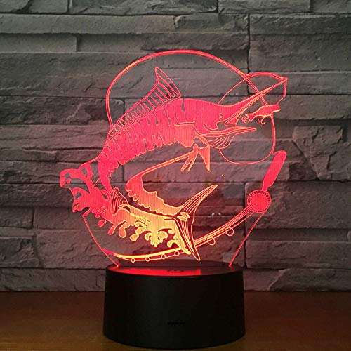 Nachtlichter Fischerei 3D LED Licht Stereo Acryl Nachtlampe Fisch Essen Köder Stimmung Beleuchtung 7 Farben Ändern Illusion Geburtstagsgeschenk Kinder Spielzeug