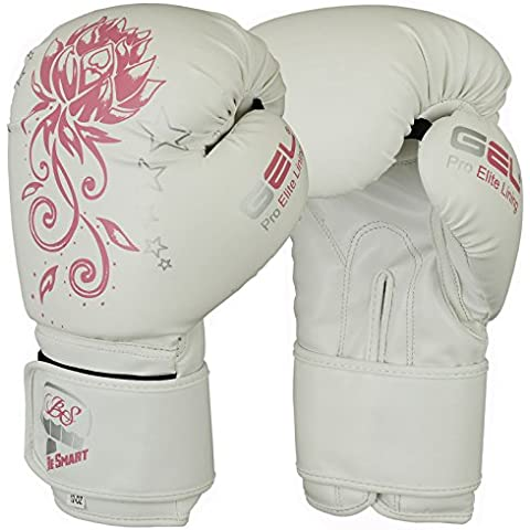 besmart niños guantes de boxeo Junior guantes 4oz,–Equipo de saco de boxeo de los niños MMA jóvenes auténtico Gel guantes utilizados por parte superior MMA clubes, mujer Infantil hombre, color White With Pink Flower, tamaño 4 Oz