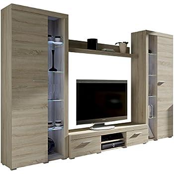 Best Wohnwand Rango Xl Modernes Wohnzimmer Set Design Anbauwand Schrankwand  Mediawand Vitrine Tv Lowboard Sonoma Eiche Mit Weier Led Beleuchtung With  Sonoma ...
