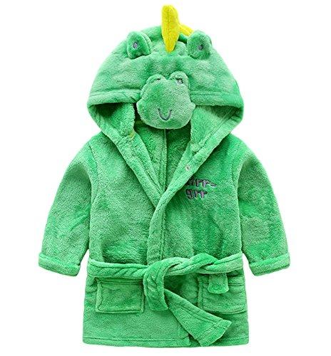 DELEY Unisex Kinder Mädchen Jungen Tier-Form Hooded Warm Bademantel Morgenmäntel mit Kapuze Kapuzenbademantel Pyjamas Nachtwäsche Dinosaurier Für 116/5 Jahre alt