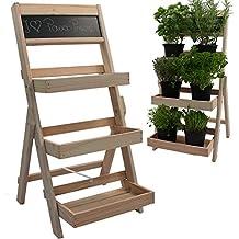 Escalera para flores de madera FSC® 74 x 39 x 40 cm con pizarra - Madera impregnada resistente a la intemperie y durable, Color:Naturaleza