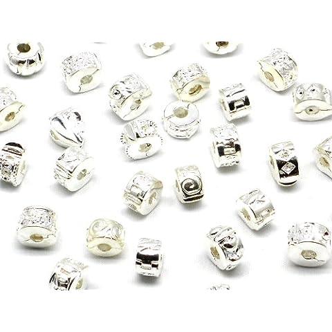 Luxbon 5 cuentas de plata Accesorios de Joyería para DIY Pulsera y Collar 5mm