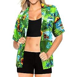 Regalo de Cuello Abotonado Top de Manga Corta Las Mujeres Abajo Desgaste Camisa Hawaiana Ropa de Playa m