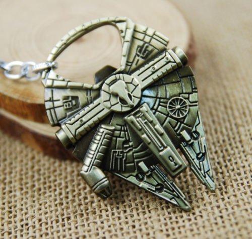 Star Wars Schlüsselanhänger und Flaschenöffner Millennium Falke, Antik-Look, groß, goldfarben