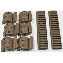 MAYMOC 4 x AEG 20mm goma Rail cubre guardamanos escalera RIS Airsoft Magpul estilo Ensenada + 32 x Tan Airsoft XTM Handguard Rail cubre paneles