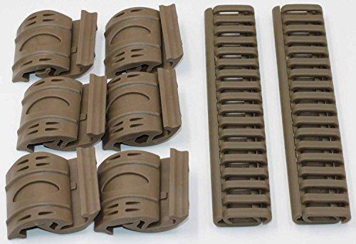 MAYMOC 4 x AEG 20mm en caoutchouc Rail Covers Handguard Ladder RIS Airsoft Magpul Style Cove + 32 x Tan Airsoft XTM Handguard ferroviaire couvre les panneaux