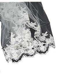 Superbe voile de mariée en tulle à simple épaisseur, bordé de fleurs brodées. Produit offert par NYfashion101.