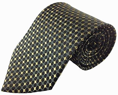 Doré et Noir Motif géométrique soie Cravate