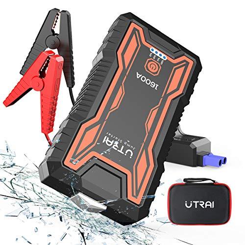 UTRAI Auto Starthilfe Anlasser Powerbank 16000mAh 1600A Spitzenstrom Tragbare Starthilfe Auto für 12V 7.0L Benzin oder 6.5L Dieselmotor,Sicherheitshammer,Dual USB, LED Taschenlampe
