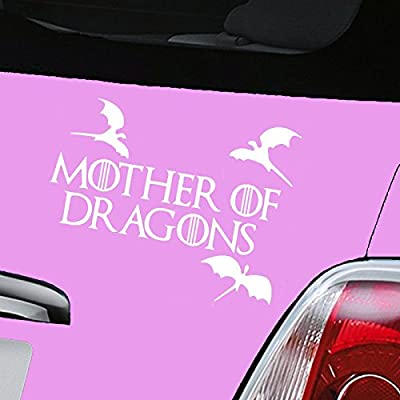 Mother of Dragons Game of Thrones White Car Sticker Decal Vinyl Window Sticker - (one P&P charge no matter how many items you buy from Aerialballs.)