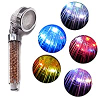 LED Shower Head, MuZhuo Water Temperature Controlled 7 Color Changing Light Handheld High Pressure Spa Shower Head, Prevention Dry Skin and Hair, Negative Ion Sprinkler SPA Shower
