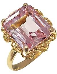 Clearance Bague Femme en Or 18 carats Jaune avec Rose de France