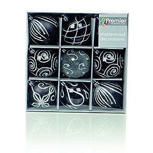 Set di Nine Black & Silver Baubles d'albero di Natale (6 cm)