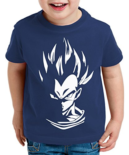 Super Vegeta Camiseta para Niños T-Shirt Goku Dragon Master Ball Vegeta Turtle Roshi Db, Farbe2:Azul Oscuro;Kinder T-Shirt Größe:152/164