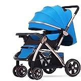 Passeggino - Passeggino alto paesaggio può sedersi pieghevole leggero pieghevole a quattro ruote ammortizzatore bambino bambino passeggino bimassa a due vie per 0 ~ 3 anni cuccetta bambino lunghezza 9