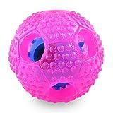 Urpet Hundespielzeug Futter-Ball aus Naturkautschuk I Intelligenz-Spielzeug für Hunde/Welpen I Robuster Hundeball I interaktiver Hundespielball mit Futterausgabe I Kauspielzeug I Pink