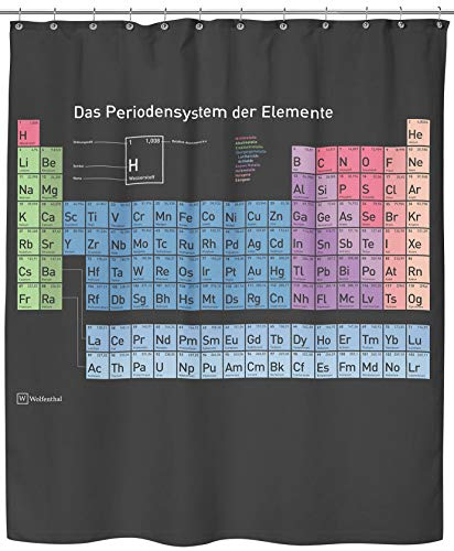 Wolfenthal Periodensystem Duschvorhang (schwarz), 180x200 cm inkl. Haken, deutsche Beschriftung, Anti-Schimmel-Beschichtung, stabile Metallösen, 100% Polyester, ohne Blei (Duschvorhang Big Theory Bang)