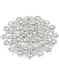 JewelryWe Joyería Broches para Vestidos Novia, Precioso Broche de Mujer Plateado Alfiler con Diamantes de