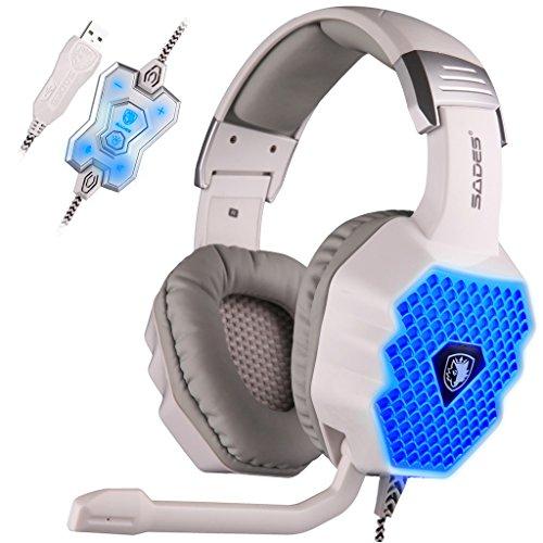 Preisvergleich Produktbild SADES A70 7.1 Surround Sound Stereo PC Gaming Headset Stirnband Kopfhörer Gaming mit HiFi Mikrofon USB Stecker Steuerung Fern Cool Breathing LED Lichter (weiß)