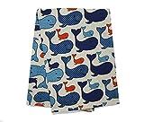 Jowollina 2er-Set: Geschirrtücher Küchenhandtücher Handtücher Tücher 50x70 cm Leinenmischung bedrückt (Lustige Wale)