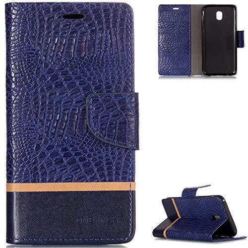 FNBK Galaxy J5 2017 Hülle Leder,Samsung Galaxy J5 2017 Handyhülle Blau,Tasche Krokodil Ledertasche Wallet Flip Case Klapphülle Ständer Kartenschlitz Silikon für Samsung Galaxy J5 2017 J530 EU Version