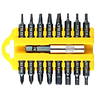 Gebildet 17pcs Mixed Electronics Hand Screwdriver Bit Set 1/4 inch, 6.35mm Electric Drill Wind Batch Head Kit, S2 Steel and 25mm Long, with a 60mm Hex Magnetic Bit Socket, Phillips Slotted Hex Head