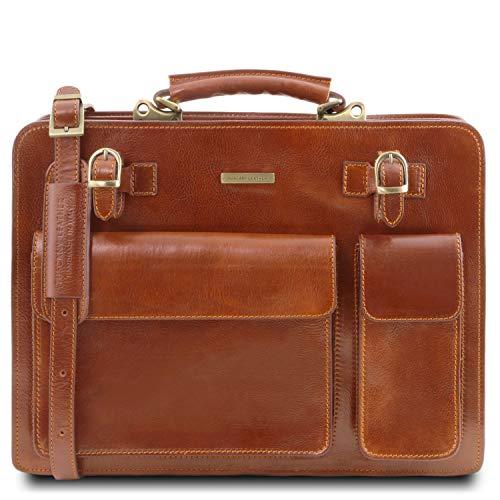 Tuscany Leather Venezia Aktentasche aus Leder 2 Fächer Honig -